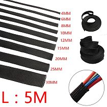 5/10M Cable Sleeve Black Insulated Braided Sleeve PET Expandable High Density Sheathing 2/4/6/8/10/12/15/20/25mm Wire Protection