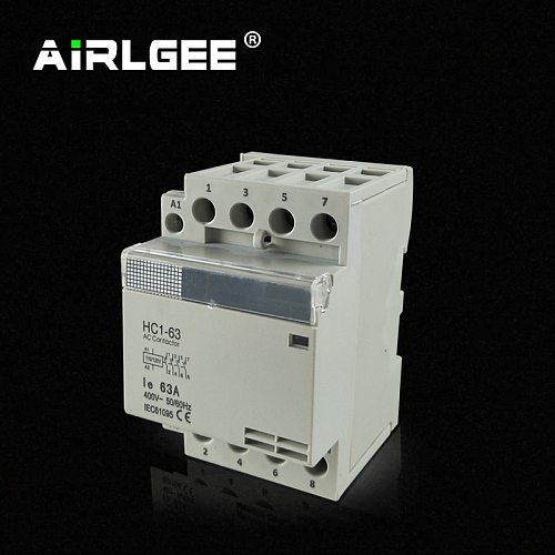 HC1-63 100/120V 220/240V 50/60Hz Coil Voltage 63A 4 Pole 4NO Household Electric Power AC Contactor Block