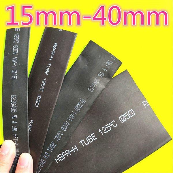 1meter 2:1 Black 15mm 16mm 18mm 20mm 22mm 25mm 28mm 30mm 35mm 40mm Heat Shrink Heatshrink Tubing Tube Wire Dropshipping