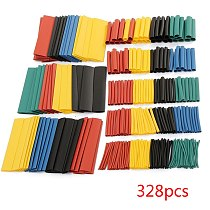 100/127/140/164/328/530Pcs Assorted Polyolefin Heat Shrink Tubing Tube Cable Sleeves Wrap Wire Set Mixed Color/Black