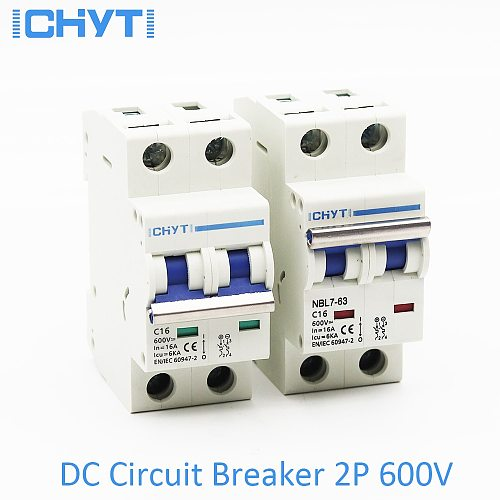 ICHYTI 2P DC 1000V 600V Solar Mini Circuit Breaker 6A 10A 16A 20A 25A 32A 40A 50A 63A DC MCB for PV System
