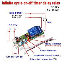 JK11 DC5V 12V  24V  0-100S 0-15Min 0S-24h Infinite Cycle Delay Timing Timer Relay ON OFF Switch  Multifunctional relay module