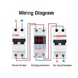 220V Intelligent Adjustable Over and Under Voltage Limit Current Protector Relay Reset Protector