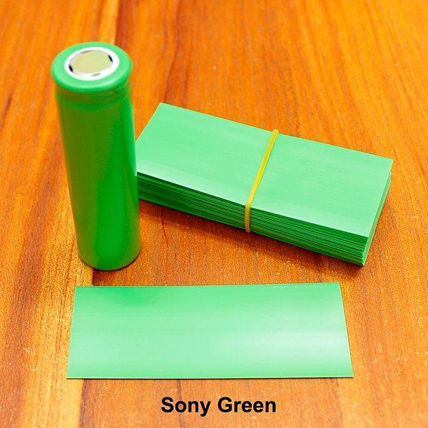 100pcs/lot 18650 heat shrinkable sleeve imported battery skin green Sony flame retardant battery PET shrink sleeve