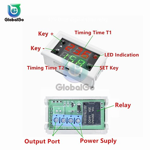 12V Delay Double Display Digital Time Relay Module Digital Time Delay Relay LED Display Cycle Timer Control Switch Module