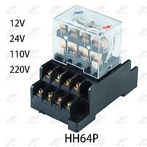 LY4NJ HH64P AC 110V 220V DC 12V DC 24V 14PIN 10A silver contact Power Relay Coil 4PDT with socket Base