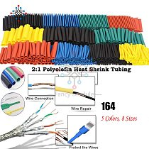 Cable Sleeves 164Pcs Multicolour Heat Shrink Tubing Assorted Electrical Wrap Wire Shrinkable Tube Cable Sleeves Polyolefin Set