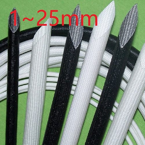 ID 1 ~ 25mm Silicone Fiberglass Sleeving Flame Resistant Silicone Resin Insulate Cable Protect Tubing 200 Deg.C