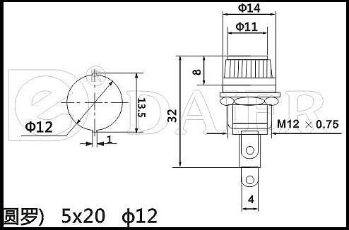 10A/250V AC Suitable for:5*20mm fuse holder Install diameter: 11.5 MM