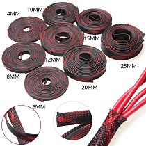 5M/10M Insulated Braided Sleeving Wire Gland Protection Black+Red 2/4/6/8/10/12/15/20/25mm Tight PET Expandable Cable Sleeve