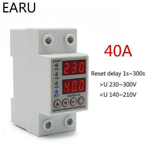 40A 230V Din Rail Adjustable Over Voltage And Under Voltage Protective Device Protector Relay With Over Current Protection Limit