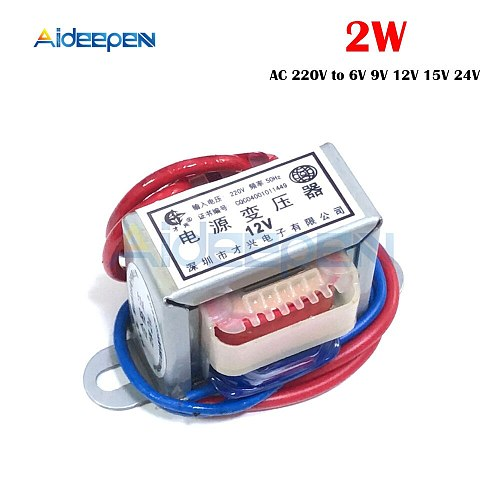 Power Transformer AC 220V to 6V 9V 12V 15V 24V Voltage 2W EI Copper Core 50Hz~60Hz Single Voltage 2 Line Copper