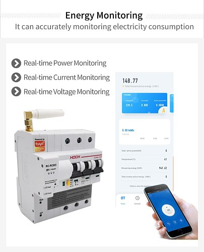 HOCH ZJSB9-80Z Tuya(Smart Life)WIFI Circuit Breaker Timer Remote Control 1P Automatic Intelligent Switch FACTORY Free Shipping