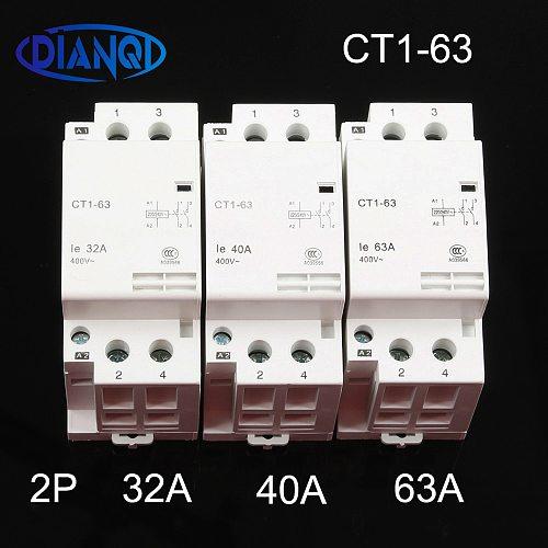 CT1-63 32A 40A 63A 2P 220V/230V 50/60HZ Din rail Household ac Modular contactor 2NO Household contact module auxiliar de partida