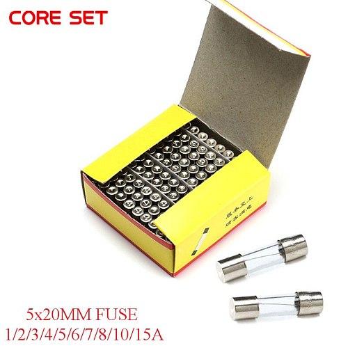100PCS 5*20MM GLASS Quick Blow FUSE 5*20 Fast Blow insurance tube 5X20MM 5X20 250V 0.5A/1A/2A/3A/4A/5A/6A/7A/8A/10A/15A/20A