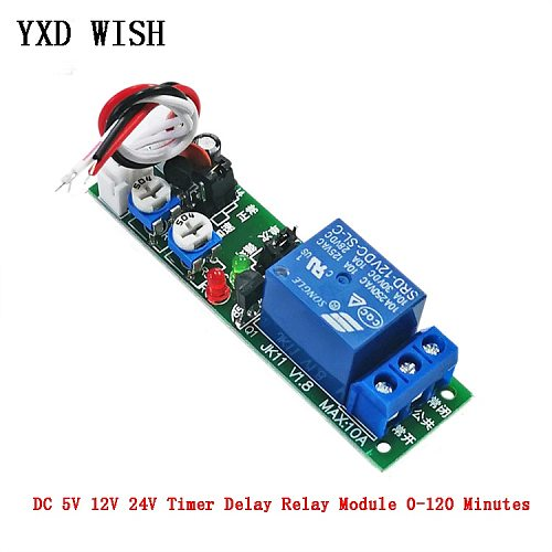 DC 5V 12V 24V Adjustable Cycle 120min Timer Delay On/Off Switch Relay Module 0~120 minutes 1 Channel Timer Control Switch Relays