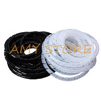 1Pc Black ClearWhite WireCable Ties Organizer Management Spiral Wrapping Bands Bundle Protector 4 6 8 10 12 14 16 18 20 25 30mm
