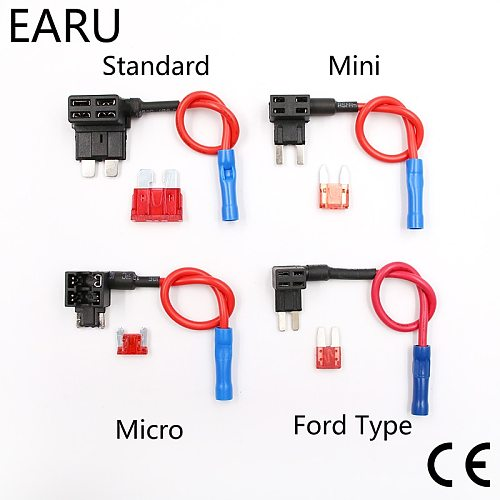 12V Fuse Holder Add-a-circuit TAP Adapter Micro Mini Standard Ford ATM APM Blade Auto Fuse with 10A Blade Car Fuse with holder