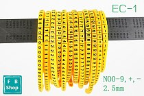 600PCS EC-1 2.5mm 0 to 9,+,- 12number each 50pcs Cable Wire Markers Letter clear Mark tube wire size Cable Wire Markers