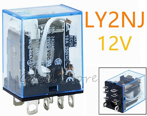1PCS 10A general purpose relay LY2NJ with LED lamp 8 pins dpdt relais 12v AC DC