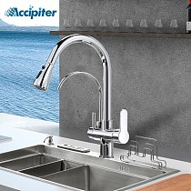Chrome Filter For Kitchen Faucets Pull-Out 360 Degree Rotating 3 Ways Tap Hot Cold Water Mixer Brass Tap Filter Water Faucet