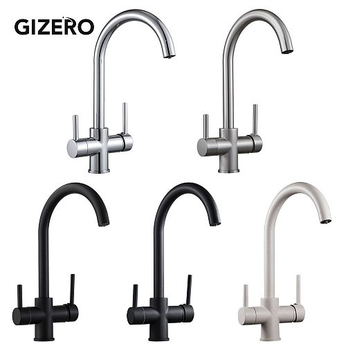 Kitchen Faucet Drinking Water Tap Swivel Pipe Dual Spout Kitchen Sink Mixer Pure Water Hot And Cold Deck Mounted ZR712