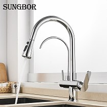 Kitchen Faucets 3 Ways Purification Faucet Drinking Tap Pure Water Pull Down Faucet Dual Spout Kitchen Sink Mixer Taps Crane