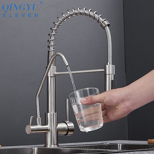 QINGYU ELEVEN Brass Kitchen Faucets Pull Down Hot Cold Water Filter Mixer Tap for Kitchen Three Ways Sink Mixer Kitchen Faucet