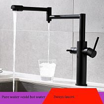MTTUZK Black Brass Hot Cold Pure Water 3 in1 Kitchen Faucet Pure Faucet Drinking Water Mixer Tap Double Water Outlet Faucet