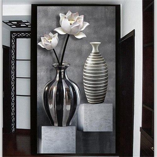 Wellyu Custom Wallpaper 3d Photo mural Bapel de pared обои black and white lotus vase porch aisle corridor Background wall paper