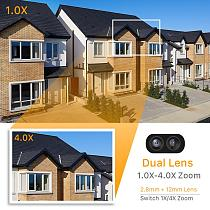 HD 1080P Dual-Lens PTZ Wifi Camera Outdoor Auto Tracking Cloud CCTV Home Security IP Camera 2MP 4X Zoom Audio Speed Dome Camera
