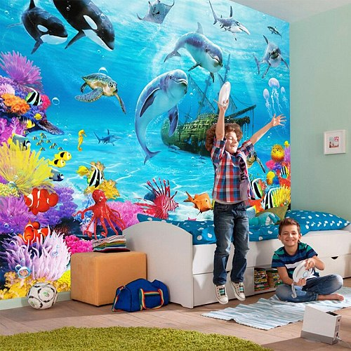3D Cartoon Underwater World Mural Wallpaper Personalized Customization Kid's Room Eco-friendly Moisture-Proof Photo Wall Papers
