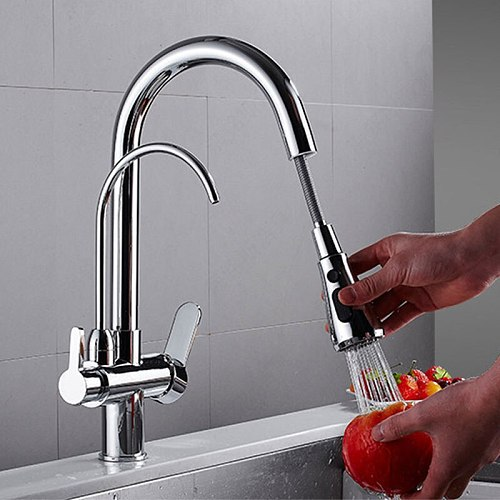 3 Way Purifier Kitchen Faucet Pull Out, Dual Handle 3 in 1 High Arc Drinking Water Filter Sink Faucet Brushed Nickel