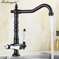 Kitchen Sink Mixer Faucets Multi Color Hot And Cold Deck Mounted 360 Degree Rotation Dual Handle Kitchen Mixer Crane WB1218