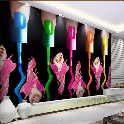 beibehang papel de parede Nail Art Makeup Nail Polish Arm Cosmetics Shop Wall Customized Large Mural Green Silk Wallpaper
