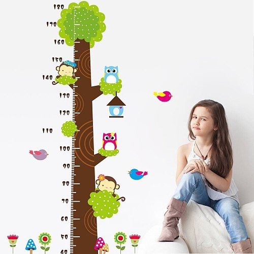 Cartoon Animal Stickers And Giraffe Pattern Wall Stickers Height Measure For Kids Rooms Children Nursery Wall Decals Home Decor