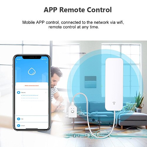 Tuya Wifi Water Leakage Alarm Independent WIFI Water Leak Sensor Detector Flood Alert Overflow Security Alarm System Tuya Smart