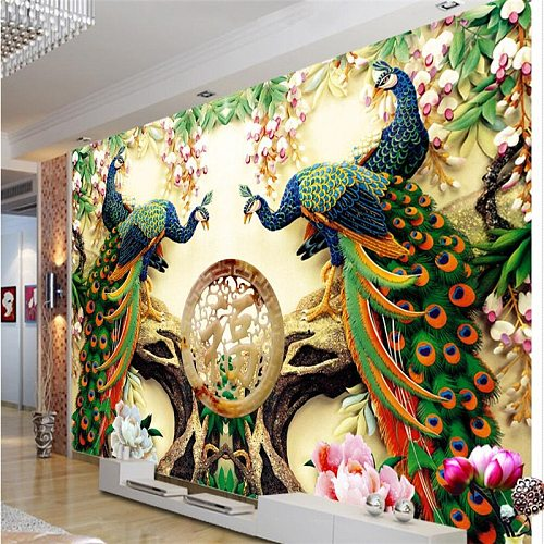 beibehang Large Painting Home Decor Peacock green branches De Pared 3d Wallpaper Hotel Background Modern Mural for Living Room