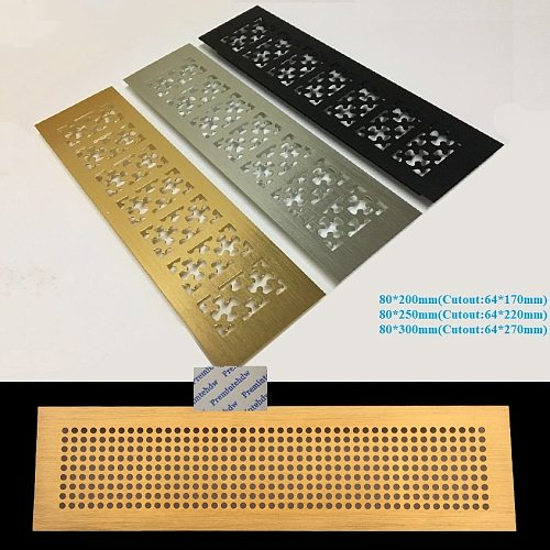 W80mm Snow Flower Honeycomb Pattern Rectangle Gold Silver Black Aluminum Air Vent Grille Cover Furniture Shoe Closet Cabinet