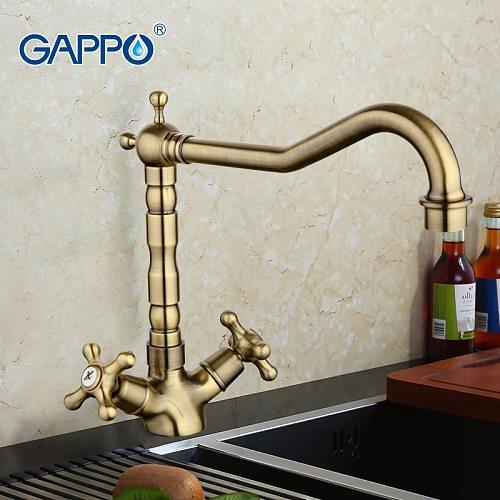 GAPPO antique kitchen faucet water mixer taps brass kitchen mixer faucet Kitchen sink mixer tap Cold Hot Water faucet GA4063-4