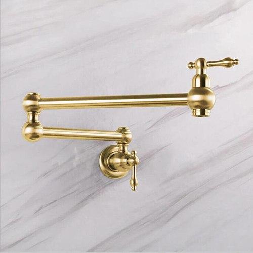 Hongdec Dual Handles Pot Filler Folding tap Brass  Kitchen Sink Faucet Brushed gold Only Cold Water