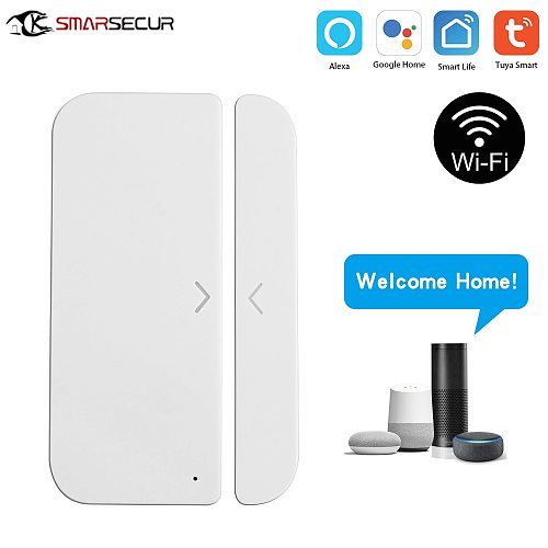 Tuya Smart WiFi Door Window Sensor Magnetic Detector Door Open / Closed Detectors APP Control Work With Amazon Alexa