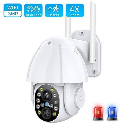 Cloud 3MP Dual-Lens Wireless PTZ Camera Outdoor 1080P 4X Zoom Color IR Wifi IP Camera Auto Tracking CCTV Security Surveillance