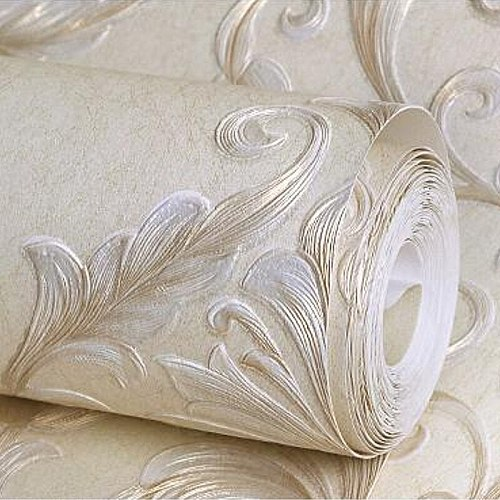 Beige Embossed Texture Wallpaper Striped & Damask Match Pattern Home Decor Bedroom Living Room Background Wall Paper