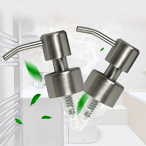 2pcs Stainless Steel Soap Pump Soap Dispenser Nozzle Liquid Lotion Dispenser Replacement Jar Tube for Bathroom