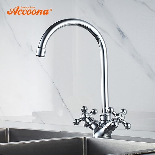Accoona Kitchen Faucet Mixer Cold and Hot Tap Water Tap Dual Handle Kitchen Faucet Torneira Cozinha Kitchen Faucets A4971
