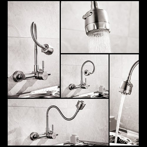 Stainless steel Wall Mounted Kitchen Faucet Wall Kitchen Mixers Kitchen Sink Tap 360 Degree Swivel Flexible Hose Double
