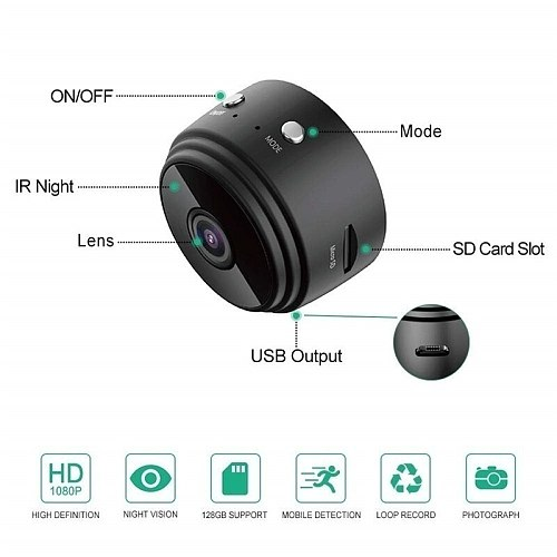 IP Camera Mini WiFi Camera 1080P HD Wireless Small Micro Cam Motion Detection Night Vision Home Monitor Security Camcorders