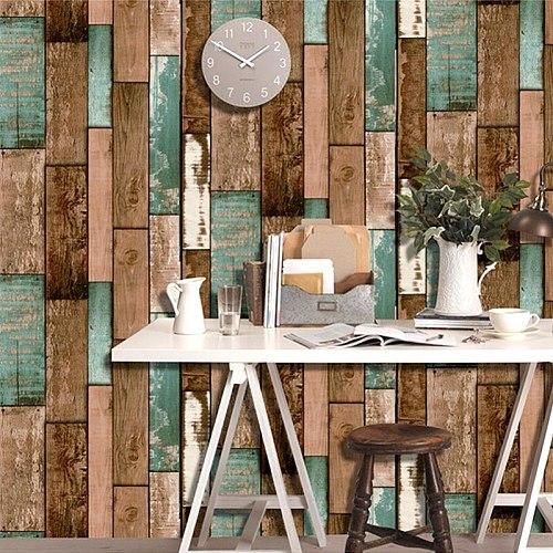 Retro Self Adhesive Vinyl Wood Grain Wallpaper Roll For Coffee Shop & Bar & Restaurant Living Room Decor Waterproof Wall Paper