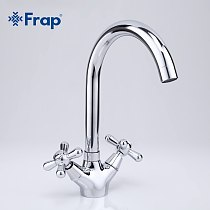 Frap Deck Mounted Brass Torneira Cozinha Kitchen Faucets Hot and Cold Water Chrome Basin Sink Taps Mixers Dual Handle F4025